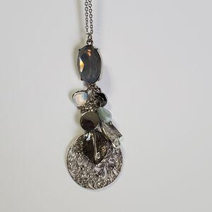 Loft silver tone long necklace multi color charms